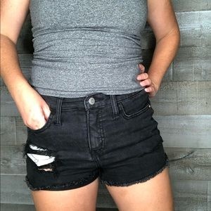 Wild Fable high rise black denim distress shorts